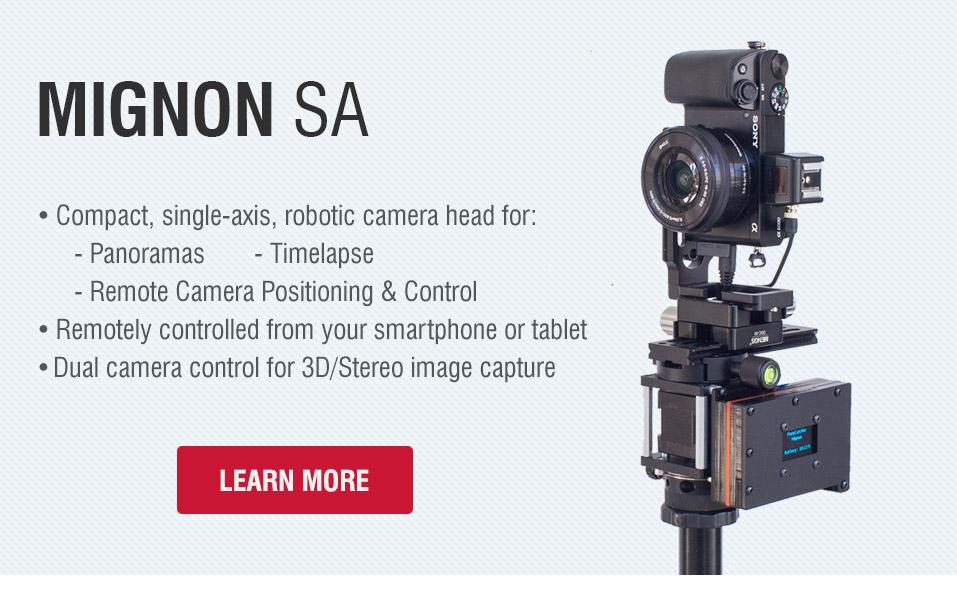 Mignon-SA - Compact, single-axis robotic panorama head for 360° panoramas, gigapixel photos and timelapse